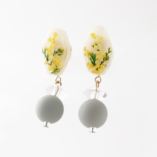 Botanical mimosa earring